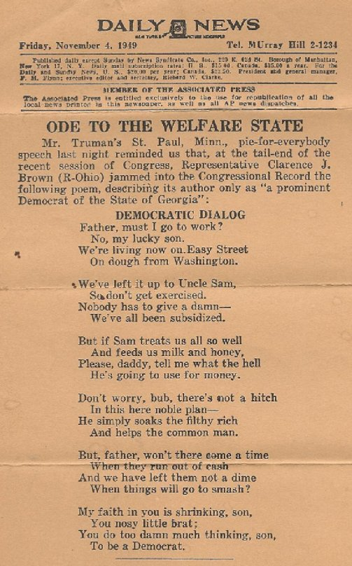 Poem to welfare state