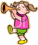 Girl Playing a Trumpet