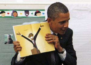 Barack Obama and cartoon book