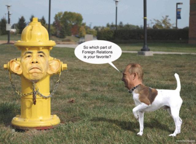 Obama fire hydrant Putin dog