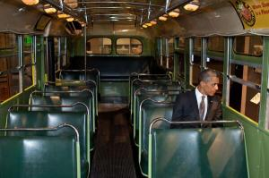 Obama on bus pretending to be Rosa Parks