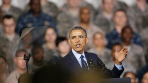 U.S. President Obama addresses U.S. military personnel at U.S. military base Yongsan Garrison in Seoul