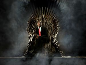 Obama on throne