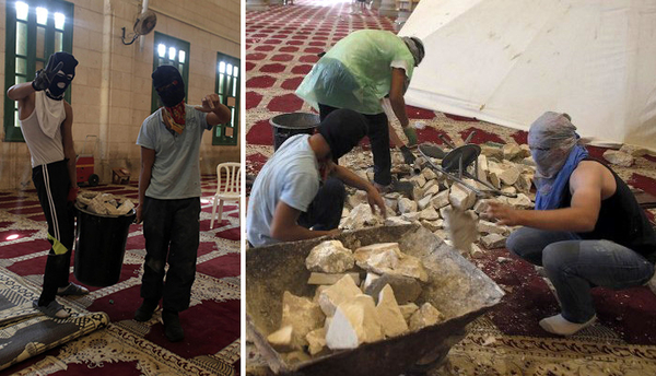 Palestinian Arab young men with masks, inside Al-Aqsa Mosque (some wearing shoes), stockpile rocks to use for throwing at Jews who visit the Temple Mount, September 27, 2015.